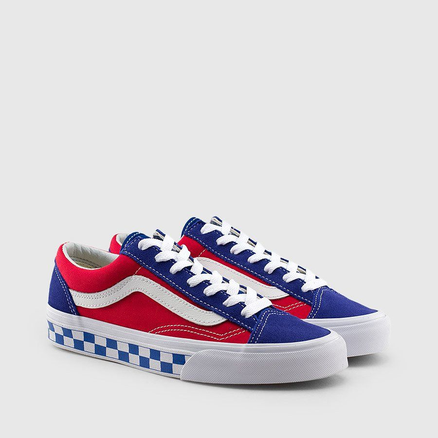 Vans Classic Old Skool Style 36 BMX Checkerboard Blue Red White USA Sz 8 13 NEW
