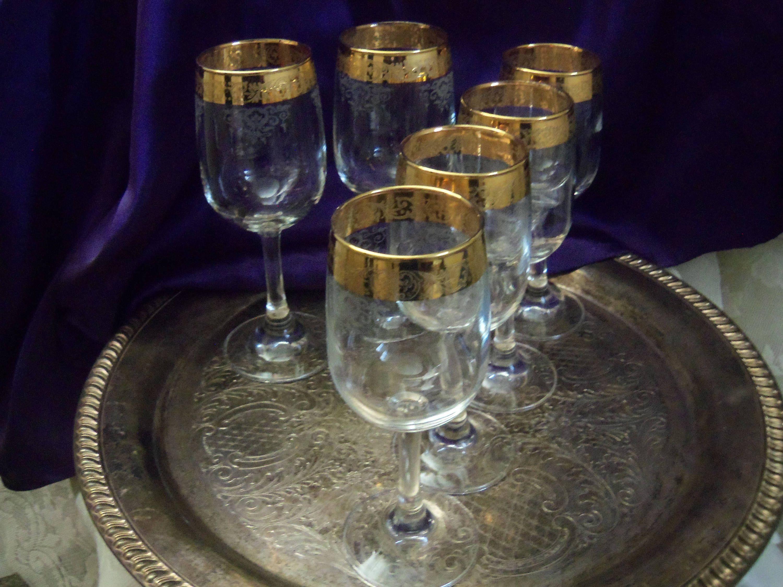 fd7f8cd5f1d6 Cellini Gold Rimmed Wine Goblets