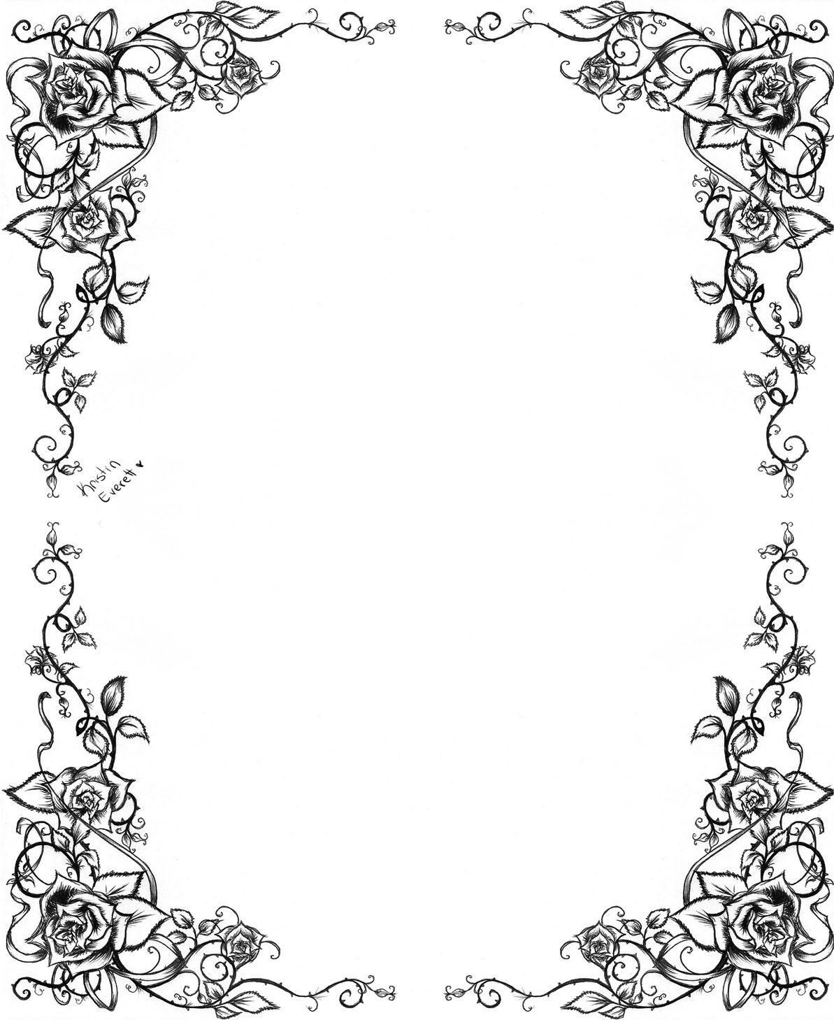 Another Rose Border Calligraphy Borders Clip Art Borders Borders And Frames
