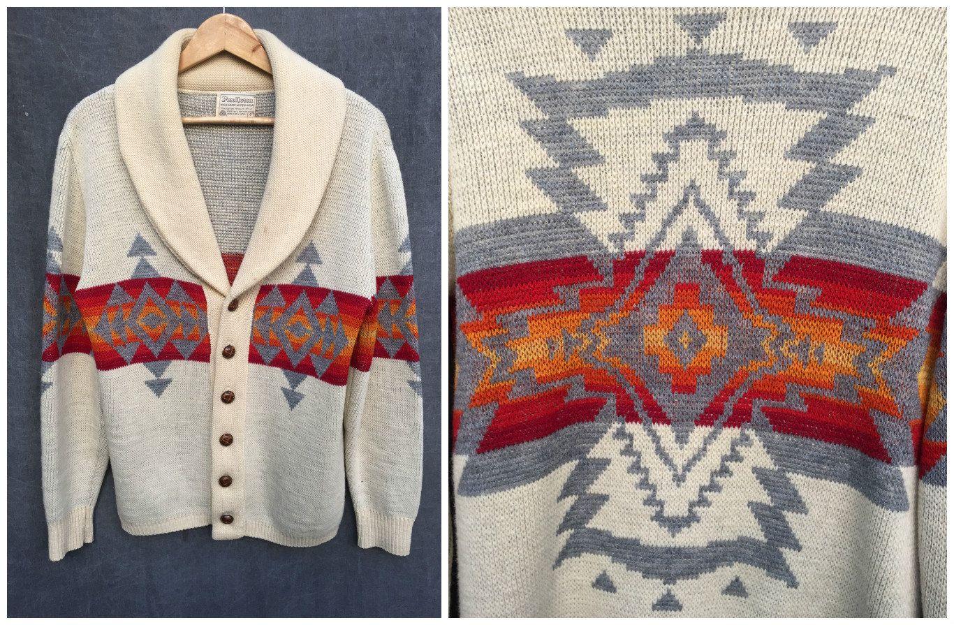 70s Pendleton Aztec Navajo Native American Tribal Design Cardigan