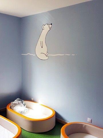 Peinture murale dortoirs crèche : animaux du froid, renard, ours et harfang