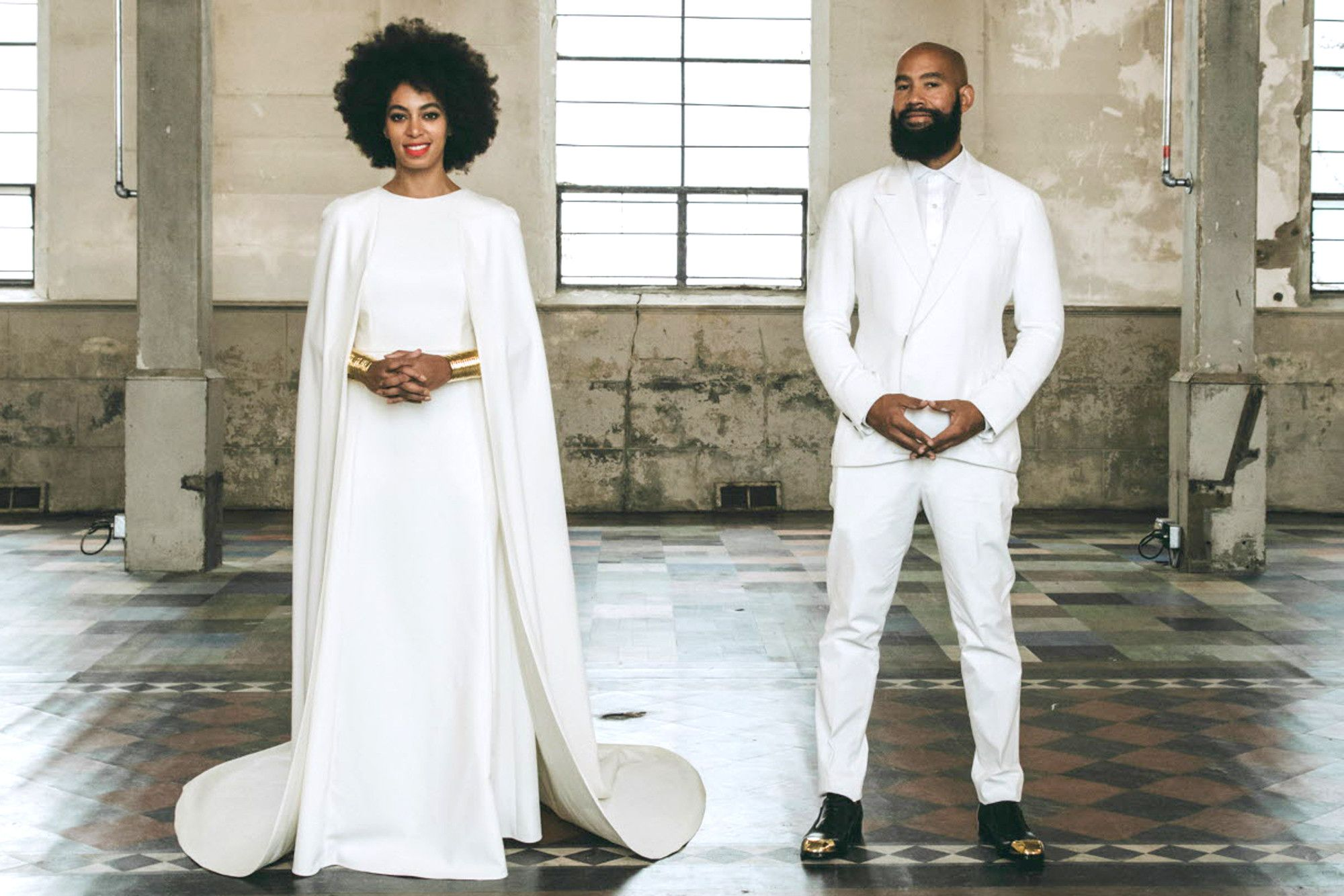 Lets talk capes femalefashionadvice dream closet pinterest in this official wedding portrait on sunday solange knowles wears her third look of the day a gown by humberto leon for kenzo while her husband alan ombrellifo Images