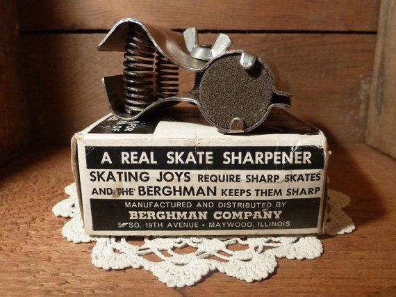 Rustic Vintage Berghman Ice Skate Sharpener in Original Box, $14.00 #industrial #vintage #rustic #antique #springs #ice #skate #skating #figure #Winter #sport #Christmas #decoration #vintage #etsy