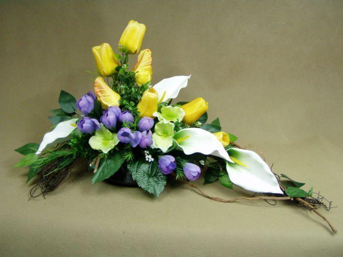 Znalezione Obrazy Dla Zapytania Kosz Na Grob Easter Floral Arrangement Flower Arrangement Designs Spring Floral Arrangements