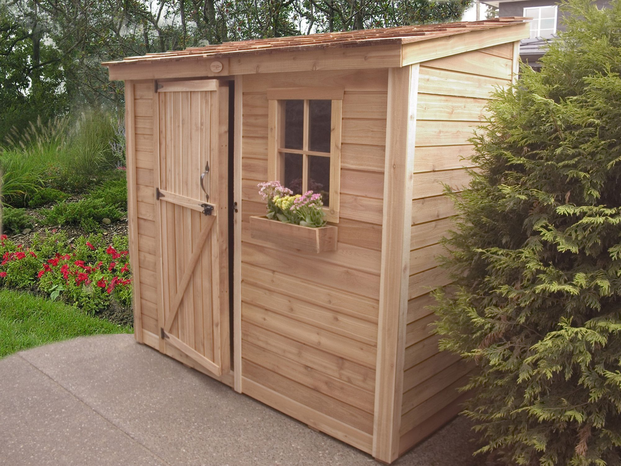 Delightful Outdoor Living Today SpaceSaver 8 Ft. W X 4 Ft. D Wood Lean
