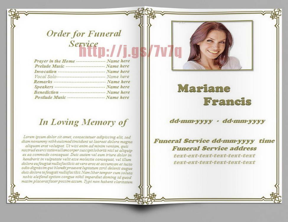 Formal Memorial Programs Template  Funeral Program Templates For