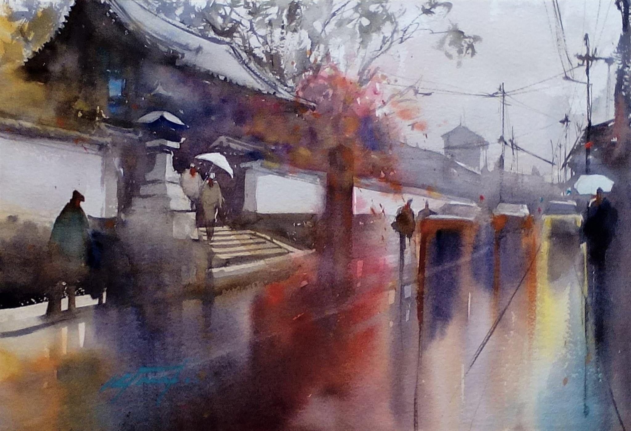Photo Rainy Day Fushimi Kyoto Japan Watercolor By Keiko