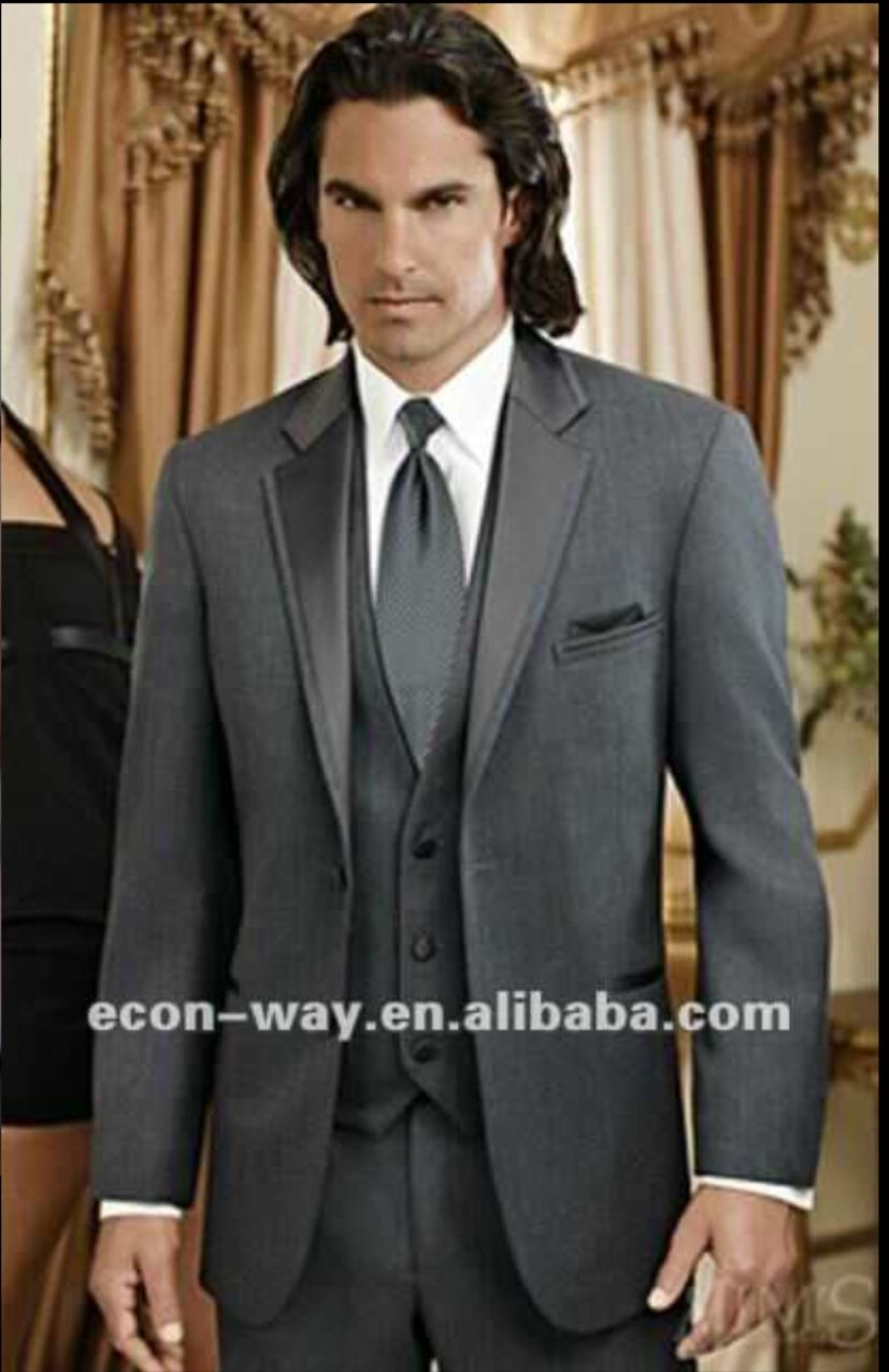 Grey grooms suit loluing at the model though wedding pinterest
