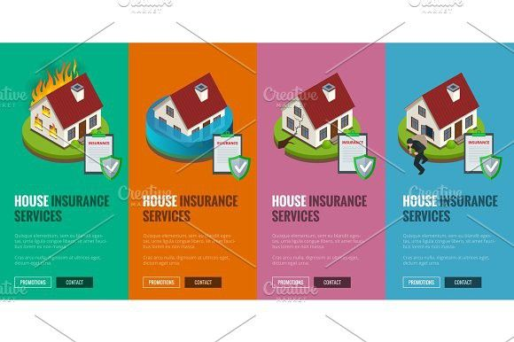 House Insurance Business Service Isometric Icons Template Vector