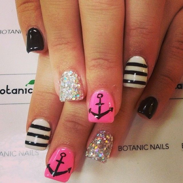 Black White Pink Sparkly Striped Anchor Nails