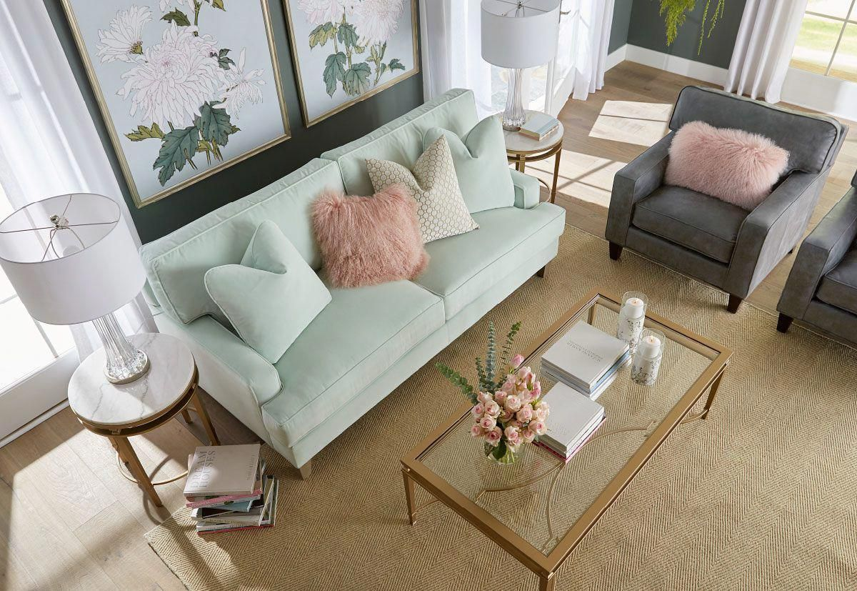Living Room With Mint Green Couch Aerial View
