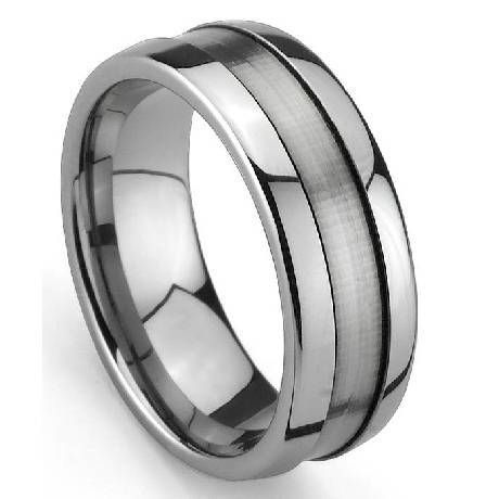 Grooved Men S Tungsten Wedding Ring With Satin Finish And Polish