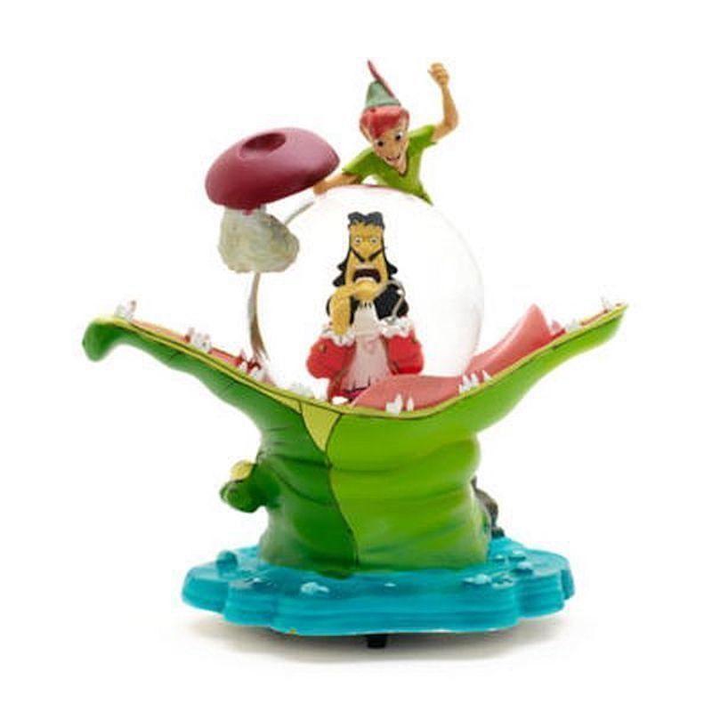 Disney Paris Peter Pan Captain Hook Tick Tock Musical Snow Globe New with Box
