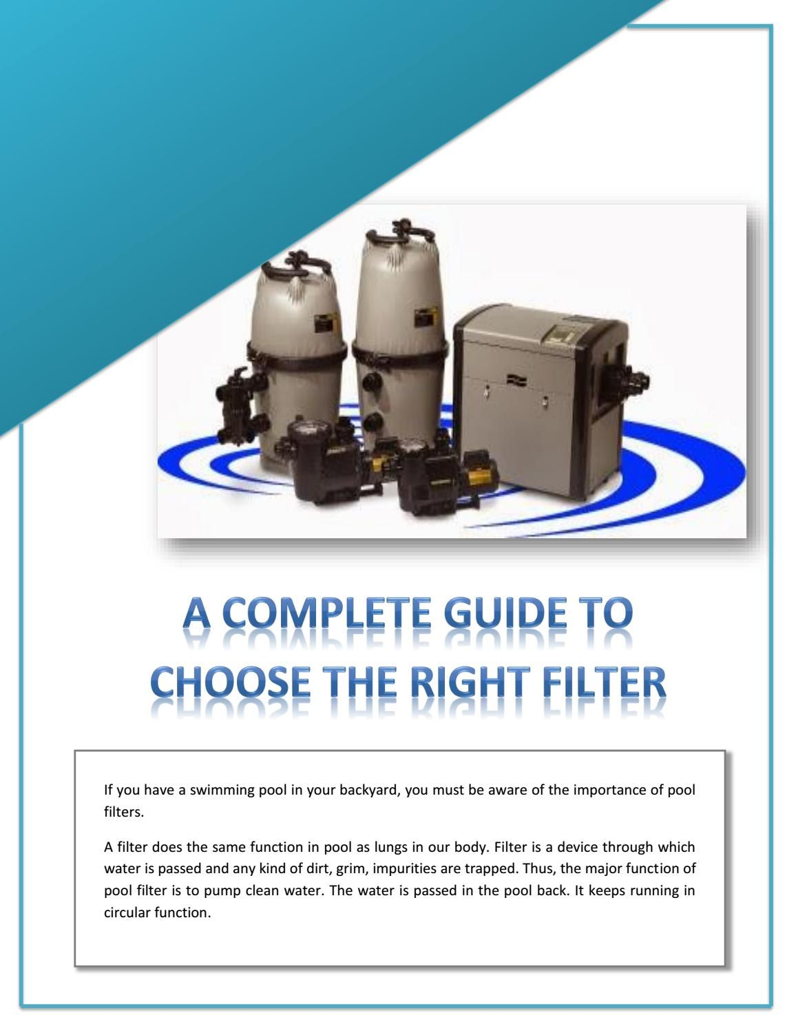 A Complete Guide to Choose the Right Filter Pool pumps