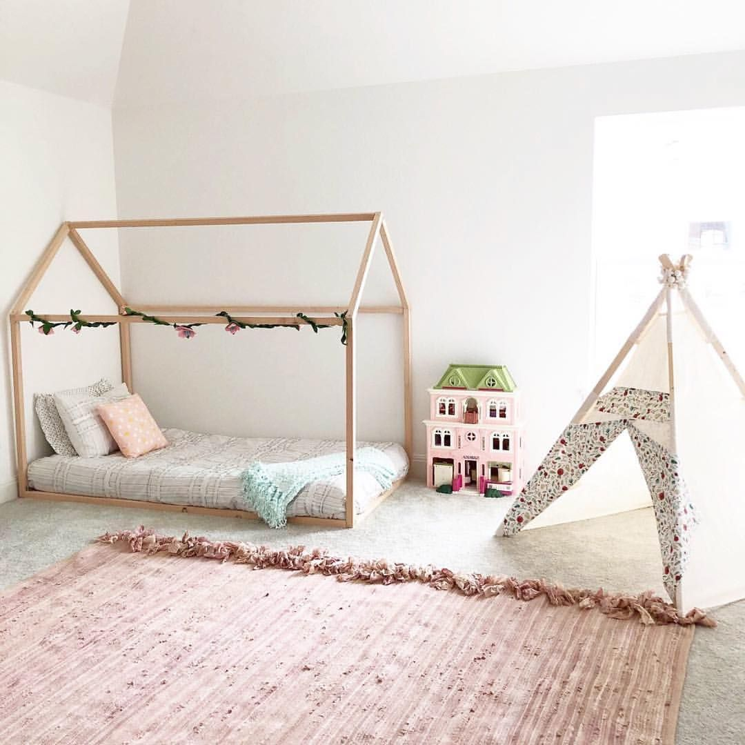 Montessori Bed Frame For Kids Creates A Statement Piece In This Adorable Little Girls Room Find More Information At Rubyrye Com House Frame Bed Bed Frame Bed