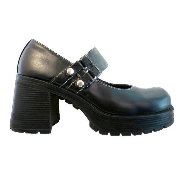93e98084333f Vintage 90s Black Leather Mary Janes    Chunky by RetroVintage123