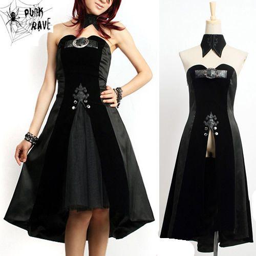 Gothic Black Strapless Short Prom Dress