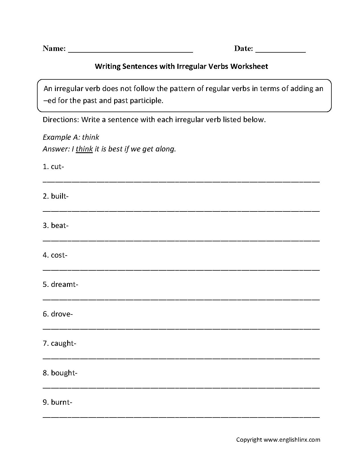 Writing Sentences With Irregular Verbs Worksheets Verb Worksheets Irregular Verbs Verb [ 1662 x 1275 Pixel ]