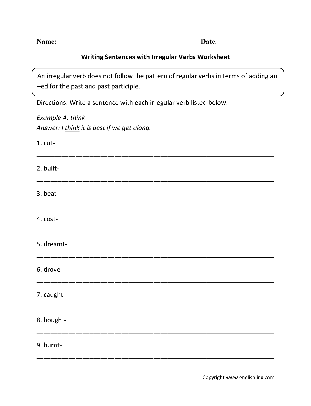 Writing Sentences With Irregular Verbs Worksheets