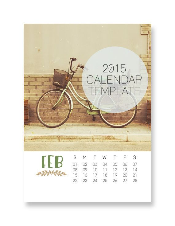 2015 Calendar Template 5x7 Size Loose Sheet 12 Month Whimsical