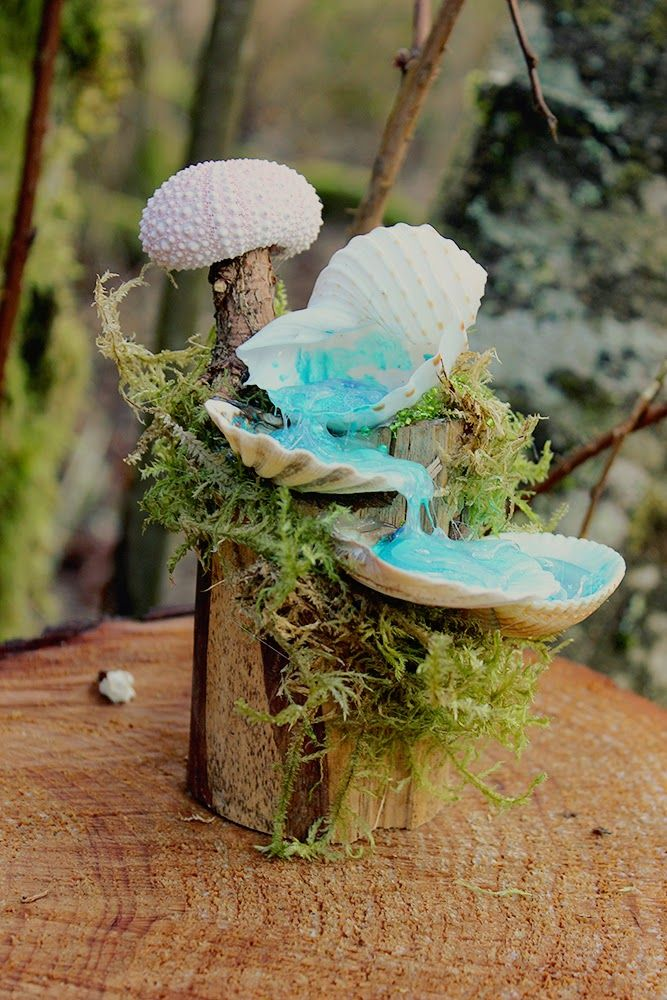 Creatively Happy Tiny Fairy Waterfalls Of Seashells Wood