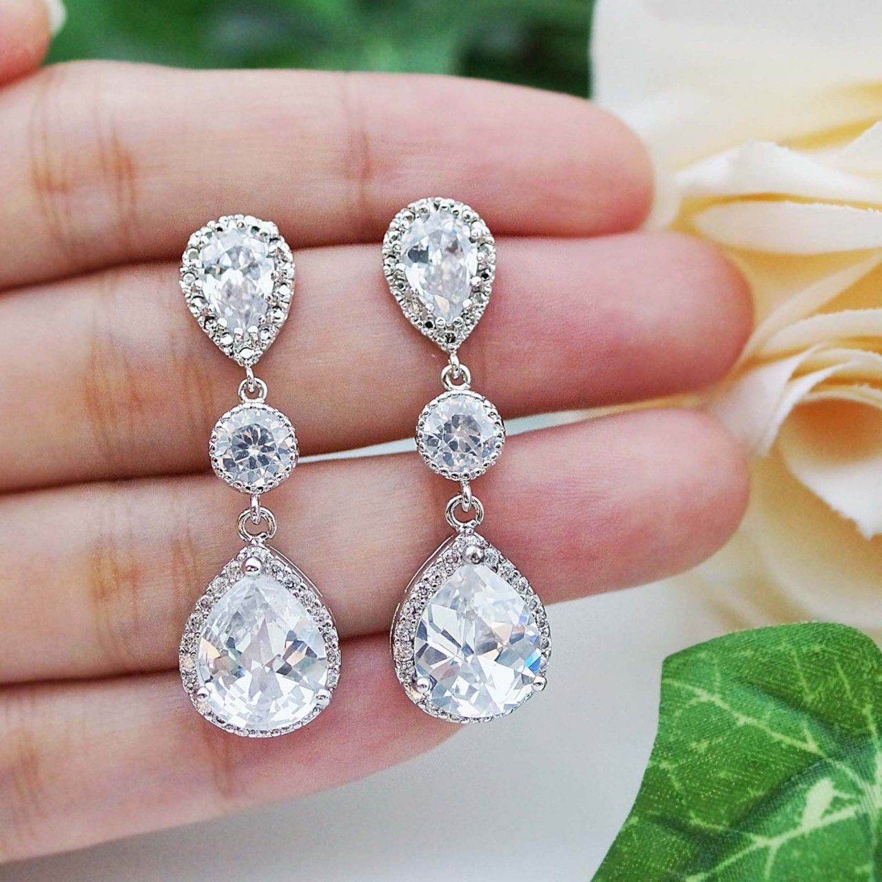 LUX Cubic Zirconia with CZ connector Bridal Earrings   Bridal ...