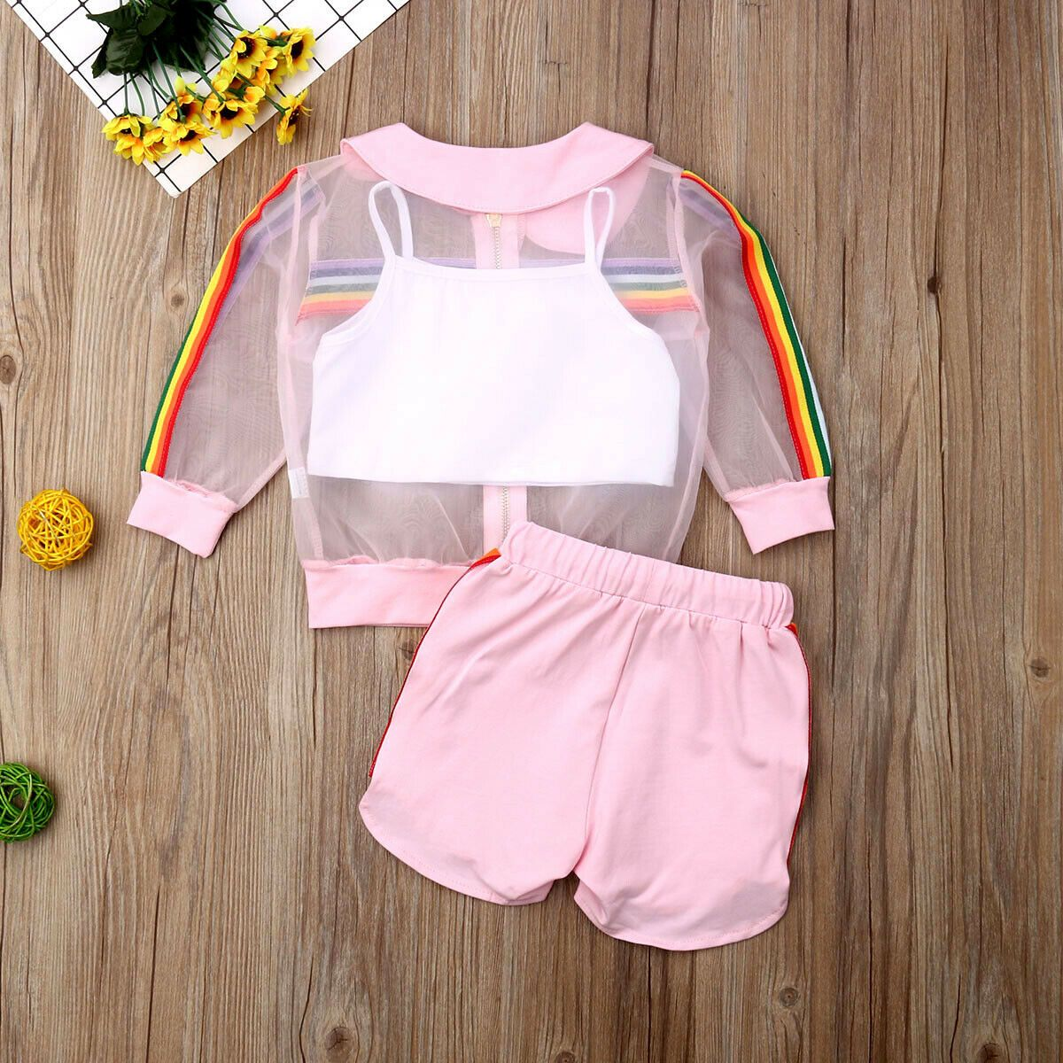 1-7Y Newborn Kid Baby Girl Fashion 3PCS Rainbow Sets Long Sleeve Coat+Vest+Shorts Outfit Clothes Summer – ALSUPERSALES – Çocuk giyim
