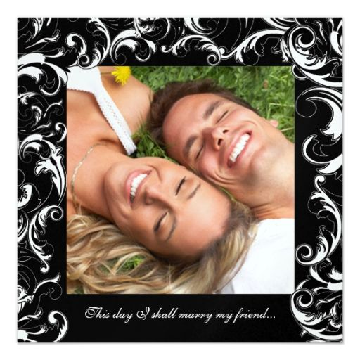 your photo wedding invitation black fancy swirls more great