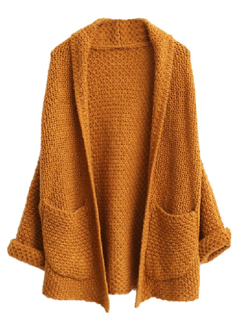 WANT..so cosy for this winter Khaki Open Front Cardigan With ...