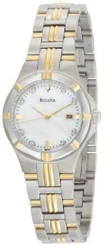 Bulova Women's 98P116 Diamond Mother-Of-Pearl Dial Bracelet Watch Bulova. $174.50. 11 diamonds, duet to 98D115. Stainless steel case and bracelet. Water-resistant to 99 feet (30 M). Women's diamond dial bracelet mother-of-pearl dial. Flat mineral crystal; Tapered pointed baton hands with white luminous fill half way from tip. Save 56%!
