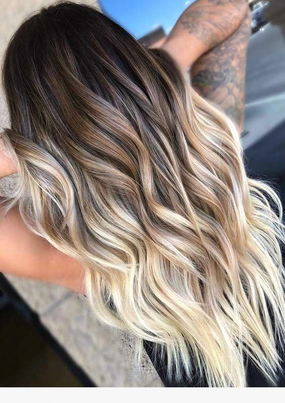 Lovely Brown To Pale Blonde Ombre Hair Color Ombre Hair Blonde Hair Styles Balayage Hair