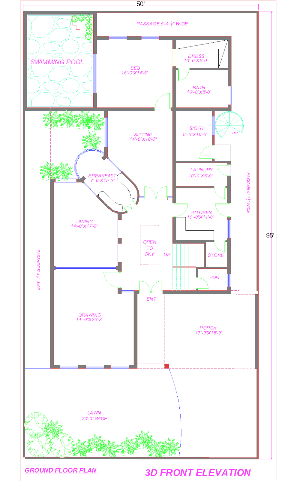 1 Kanal Ground Floor Plan With Swiming Pool Png 960 1600 House Plans How To Plan Bedroom House Plans