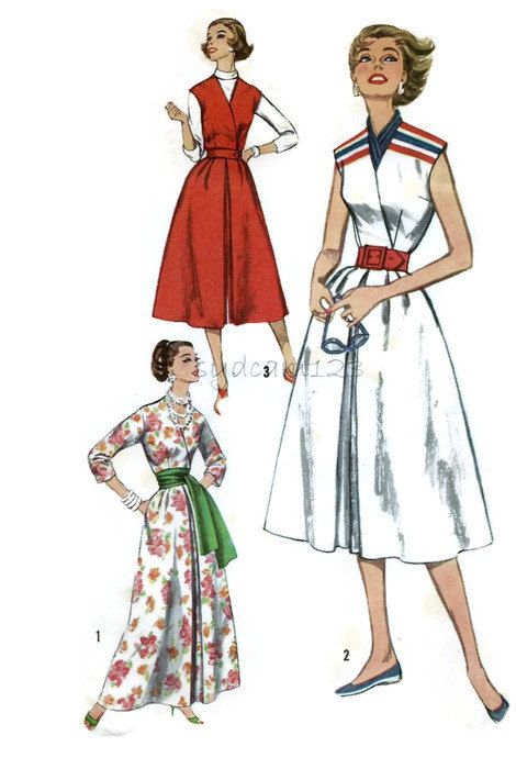 Vintage 1950s Pattern Wrap Bodice Culottes Hostess Pantsdress Two ...