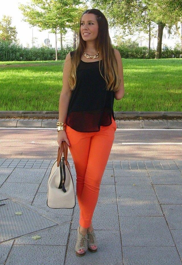 M s de 25 ideas incre bles sobre pantalon naranja outfits - Como conseguir color naranja ...