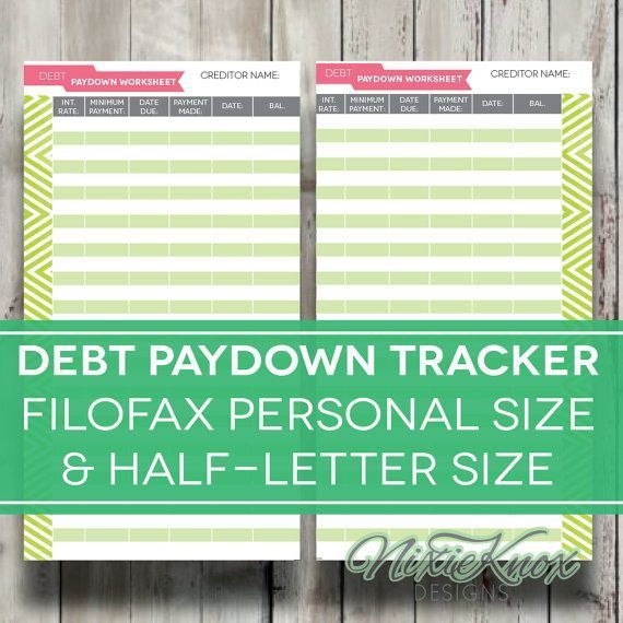 Debt Payoff Worksheet Printable Filofax Personal Size, A5,  Half - credit card payoff calculator spreadsheet