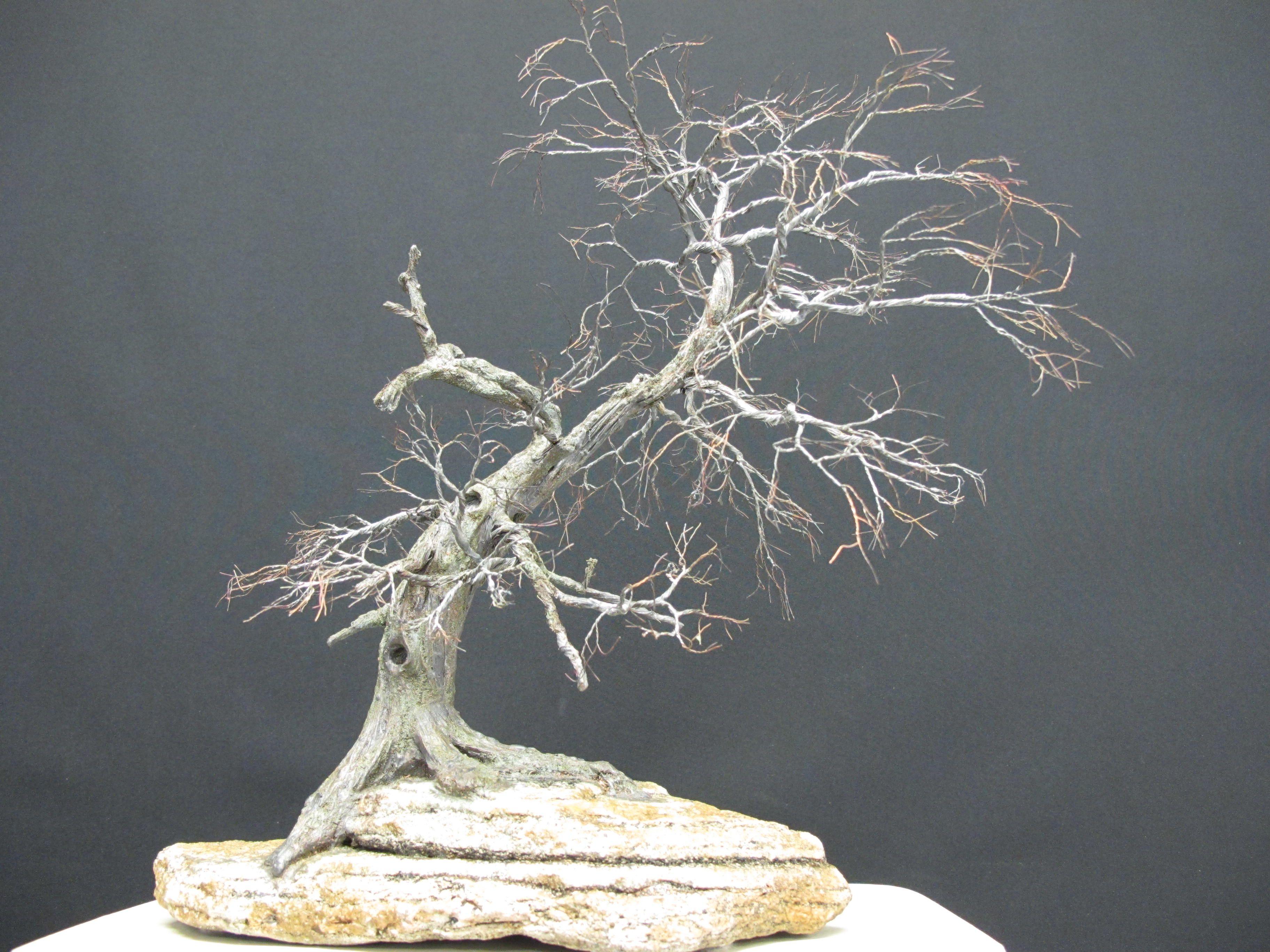 Copper wire tree - Bonsai or Penjing style - Recycled material - Natural rock - Wabi Sabi - Shakan - Slanting