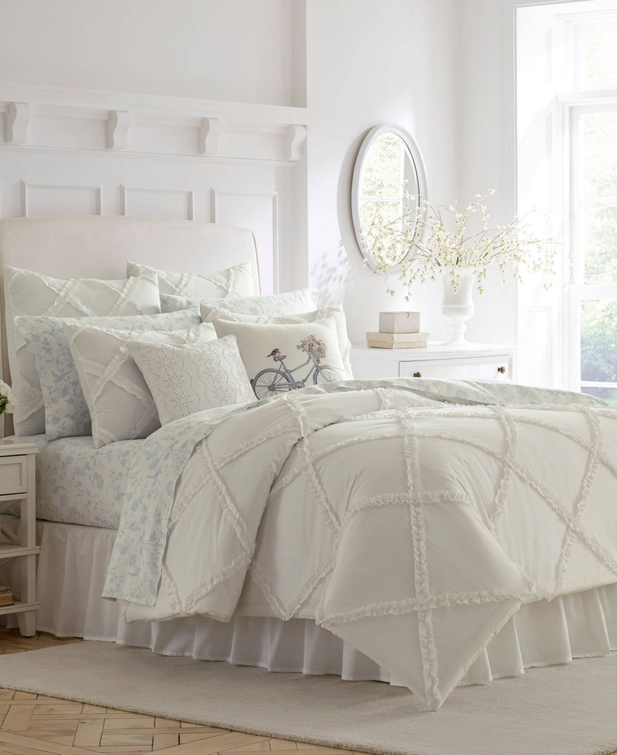 Laura Ashley Adelina White Comforter Set, Twin White