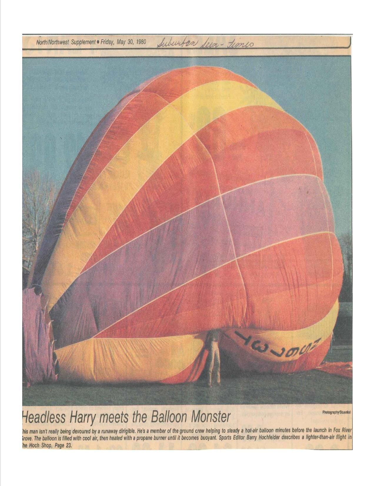 Hot Air Balloon in Fox River Grove, 1980 Fox river grove