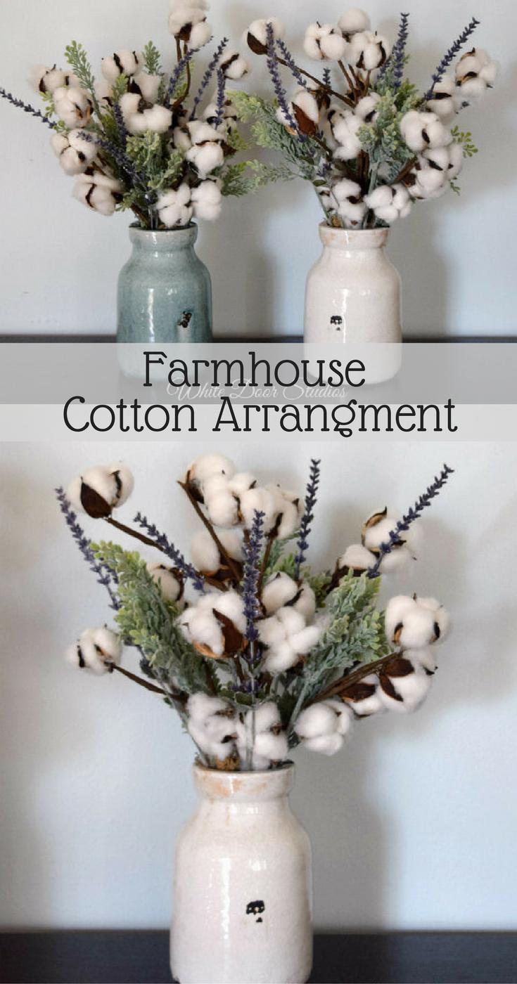 Rustic Farmhouse Cotton Stem Arrangement In A Rustic Ceramic Vase In Your Choice Of Distressed Cream Or Pale Blue Filled Decor Home Decor Floral Arrangements