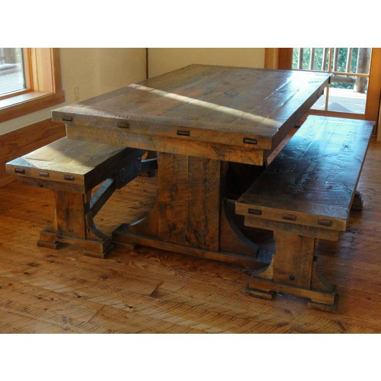Hawk Creek Rustic Bench. Trestle Dining TablesRustic ...
