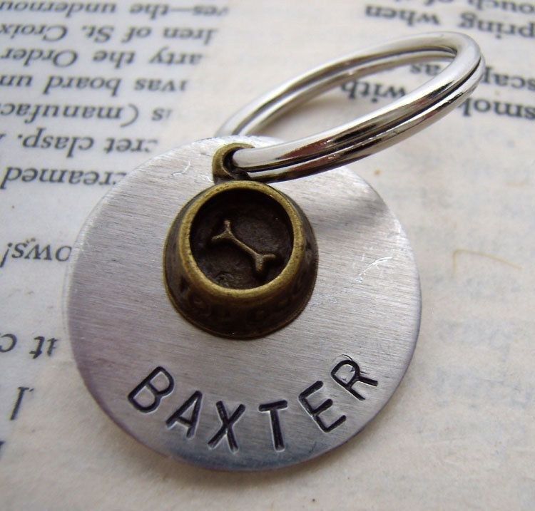 Pet ID Tag with bronze dog bowl custom name personalized. $14.50, via Etsy.