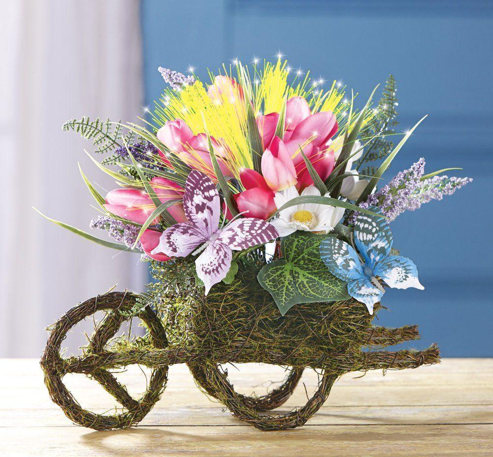 Fiber optic floral wheelbarrow centerpiece check out