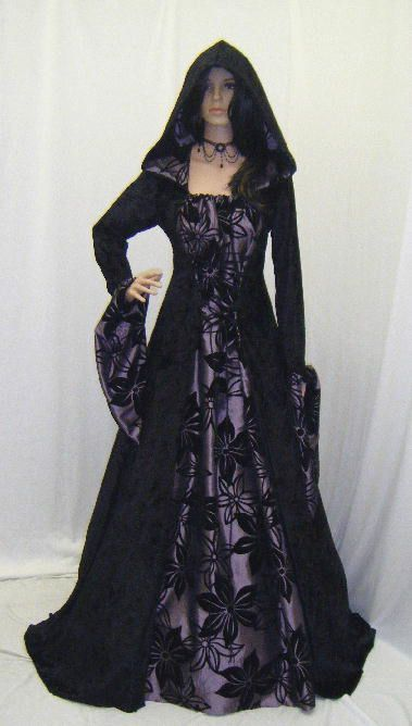 Gothic Medieval Vampire Wedding Dress Pagan Hooded Ren