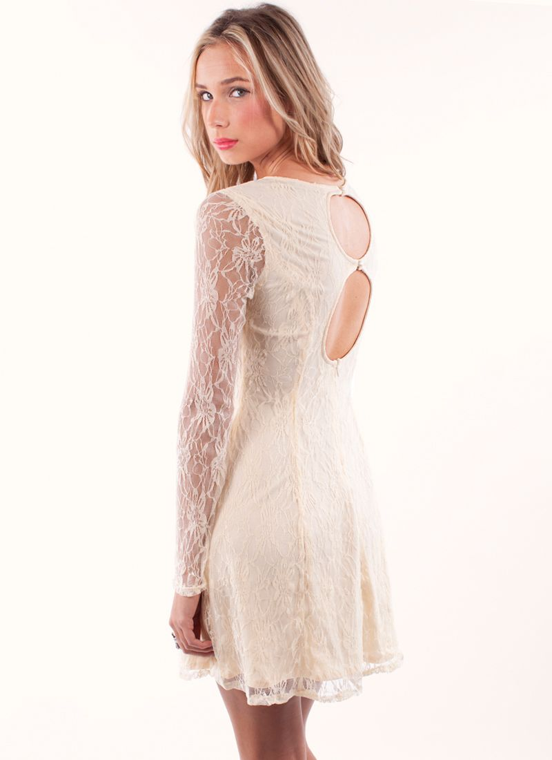Cream lace skater dress with cute back and amazing sleeves ...