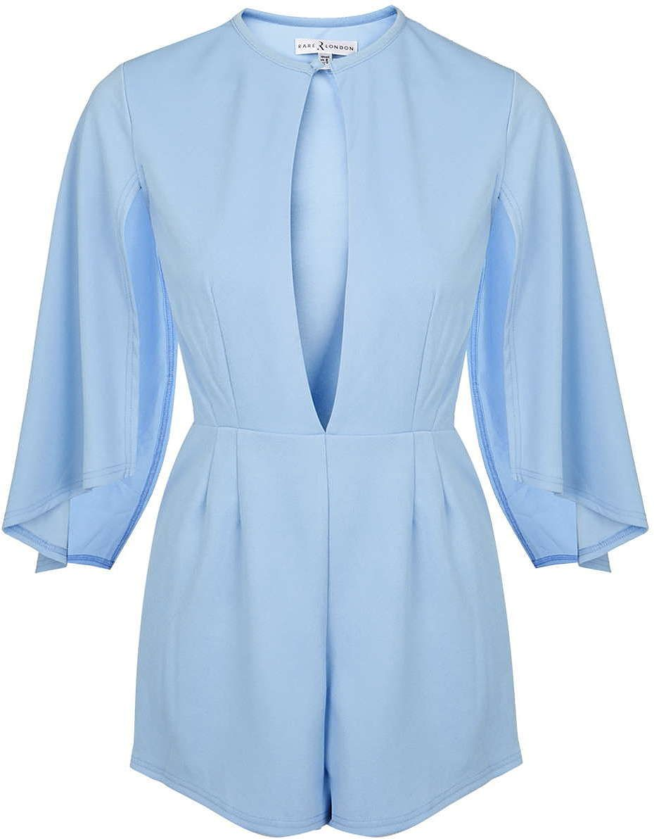 fd2c08455b76 Womens sky split front cape sleeve playsuit by rare - blue