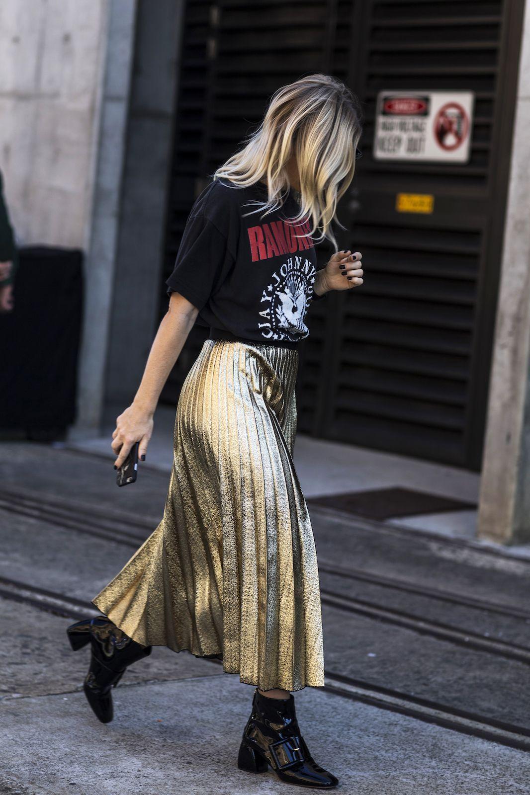 Metallic Pleated Skirt with Tee
