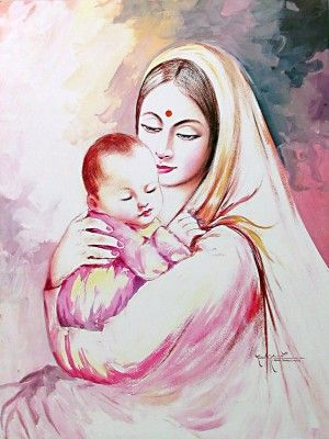 Beautiful mother and baby drawing / rangoli / painting ...