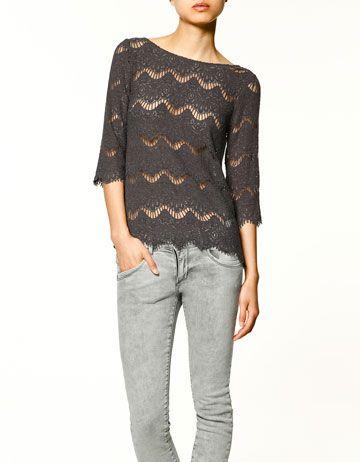 Loving lace. Black lace zip up top.