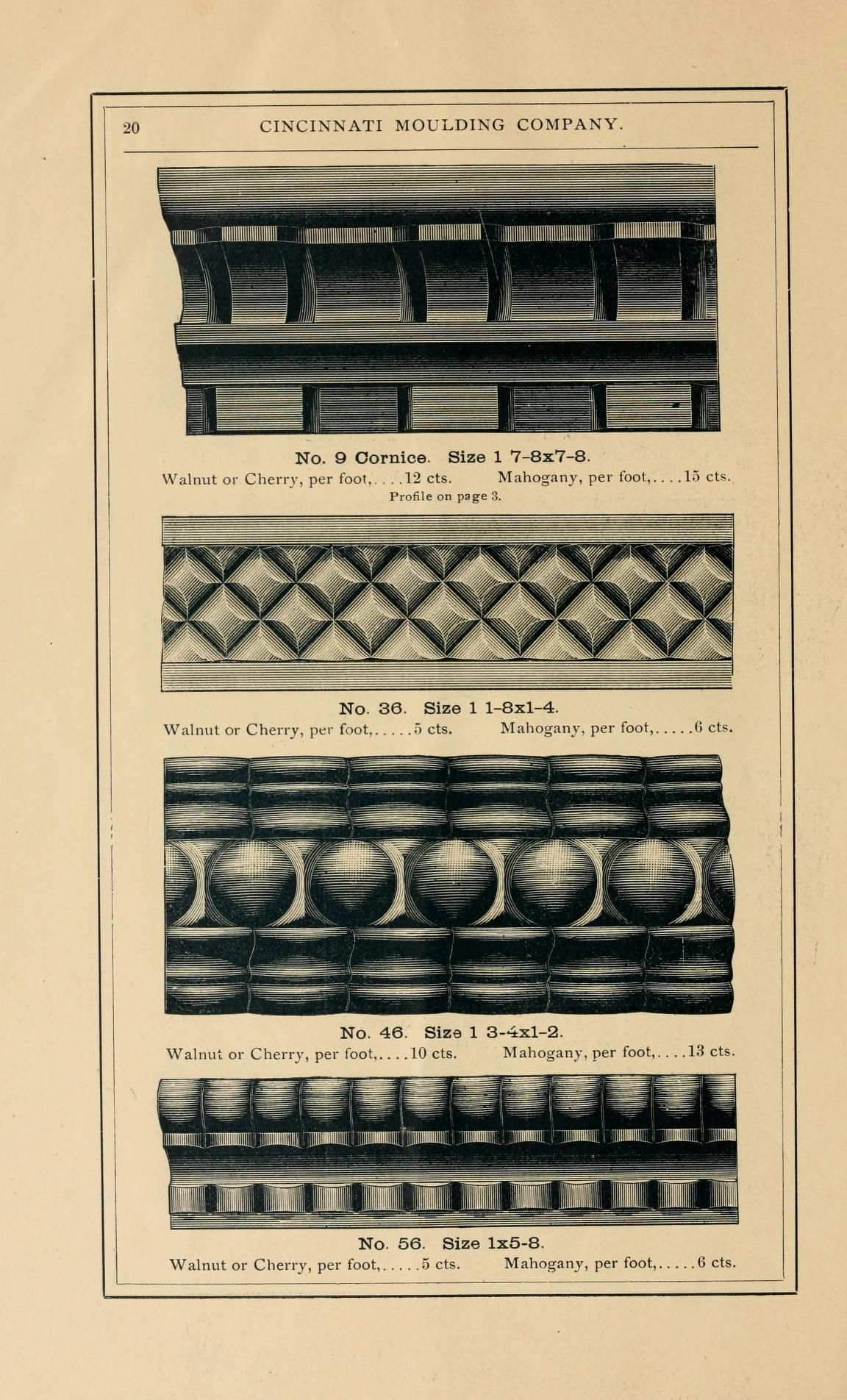 """1887. Cincinnati Moulding Company, Manufacturers of Carved Mouldings and Panels."" (38 pages, full text online)"