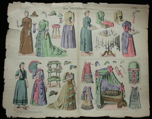 Uncut Paper Doll Sheet, Neue Ankleidefiguren, with 4 Paper Dolls with Costumes & Room Settings 1880s